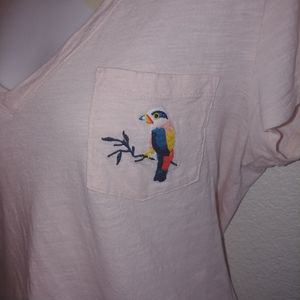 A new day embroidered bird pocket v neck t shirt